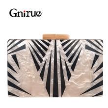 Fashion Pearlescent Acrylic Bag Chain Women Messenger Bag Geometric Patchwork Clutches Elegant Evening Bag Party Prom Handbags