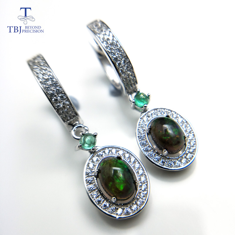 TBJ,2019 new classic clasp earring with natural black opal and emerald gemstone jewelry in 925 sterling silver for anniversary TBJ,2019 new classic clasp earring with natural black opal and emerald gemstone jewelry in 925 sterling silver for anniversary