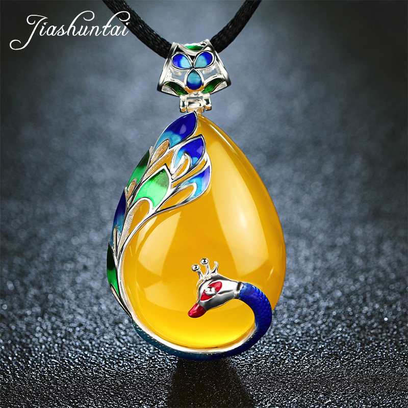 JIASHUNTAI Retro 100% 925 Silver Sterling Royal Natural Stones Peacock Pendant Necklace Jewelry For Women Vintage edi vintage green black yellow agate gems necklace pendant for women 925 sterling silver cord peacock figure cloisonne jewelry