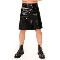 Latex Men's Short Skirts Rubber Latex Black Dress