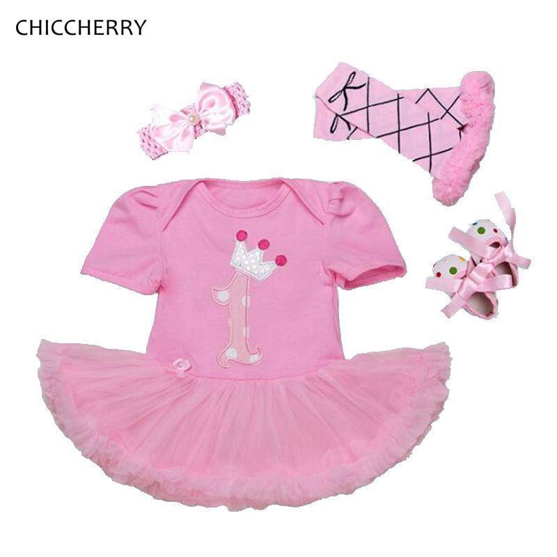 Pink Lace 1 Year Birthday Dress Headband Leg Warmers Crib Shoe Girls Birthday Tutu Sets Baby Girl Summer Clothes Toddler Outfits