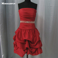 2018 Real Photos Mermaid Strapless Beaded Belt Pleated Red Short Evening Dresses Beautiful Evening Gown