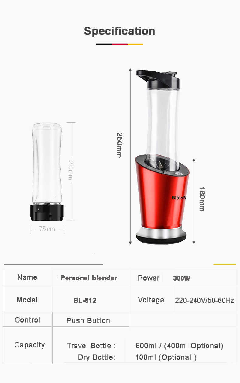 BPA FREE 300W Portable Personal Mini Blender Food Processor Milkshakes Mixer Juicer 600ml Bottle 400ml Cup & 100ml grinder