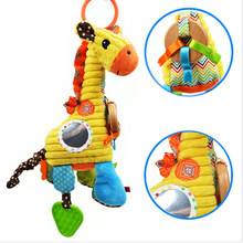 Sozzy Plush Infant Baby Development Soft Giraffe Animal Handbells Rattles Handle Toys Hot Selling With Teether & Mirror Baby Toy(China)