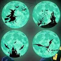 1 juego brillante en los ojos oscuros pegatina de cristal para pared decoración de Halloween calcomanías luminosas adornos para el hogar pegatinas verdes