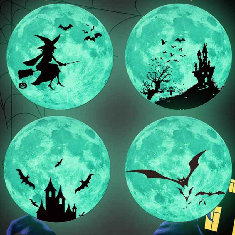 1Set Glowing In The Dark Eyes Wall Glass Sticker Halloween Decoration Decals Luminous Home Ornaments Green Stickers