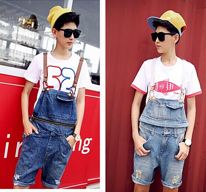 2015 Summer Men Denim Overalls Shorts Male Fashion Bib Pants Hole Design Man Suspenders Union Suit