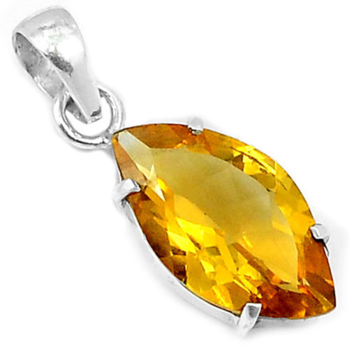 Hand make Genuine Citrine Pendant 100% 925 Sterling Silver Jewellery 31mm, 2.9g, AP0430