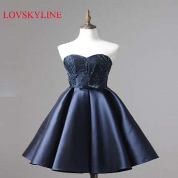 New Arrival Satin Short Evening Dresses Ball Gowns  Sexy Sweetheart Corset Beaded Wedding Party Prom Gowns