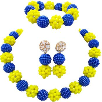 Free Shipping Royal Blue Yellow Trendy African Wedding Jewelry Sets for Bridal 1C-SJZZ-05