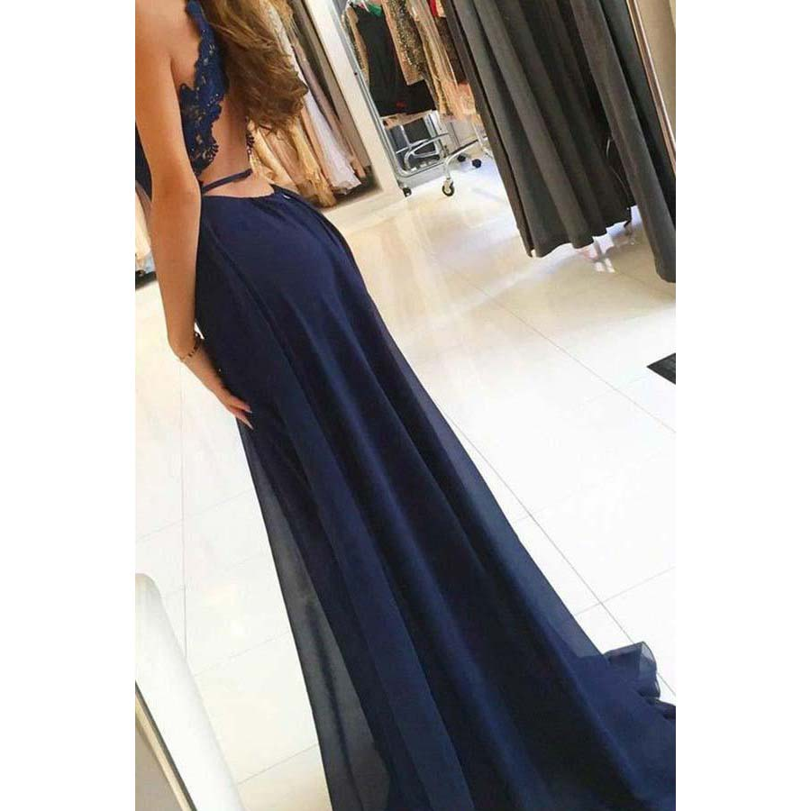 Halter Long Prom Dresses Sleeveless A Line Applique Front Split Sweep Train Chiffon Evening Formal Party Dress Vestido De Fiesta