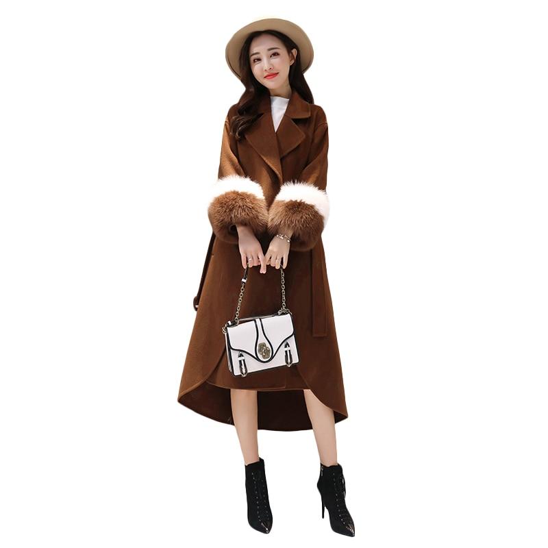 Renard Col Femelle Cachemire De Long Manteau Veste Femmes Réglable Color Fourrure Laine Taille Caramel Mince D'hiver Faux rBtQdxshC