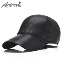 [AETRENDS] 2017 New 6 Panels 100% Leather Baseball Caps Men Black Sheepskin Leather Hats for Men Snapback Caps Z-5292