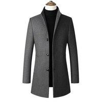 2019 Fashion Men Wool Trench Coat Autumn Winter Windproof Slim Pea Coat Overcoat Casual Jacket Windbreaker Clothing Mens Coats E