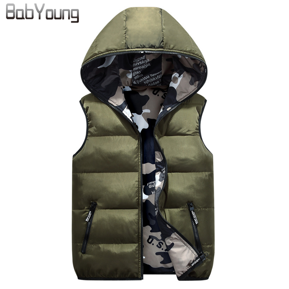 BabYoung 2017 Winter Women Vest Cotton Down Warm Coat Chaleco Mujer Hat Femme Both Sides Wear Veste Femme Camouflage Outerwear