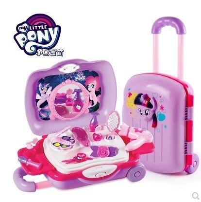 M y Little Pony Toys Twilight Sparkle Pinkiepie Children Pretend Play Toy Set Girl's Pretent Play Simulation Cosmetic Travel Box