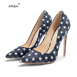 ARQA 2019 date pointu côté creux talon haut sexy femmes chaussures en Denim de mode femmes pompes dames chaussures grande taille 33-45