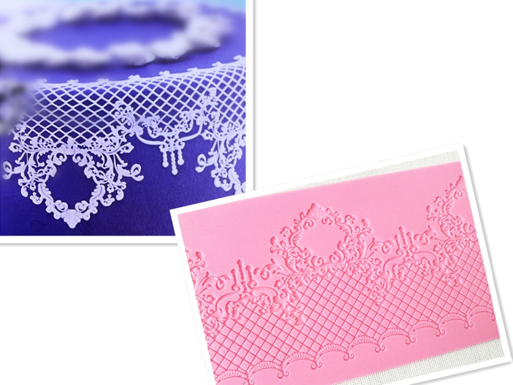 MX061 European Style Crstal Pendant Crown Retro Lace Mould Silicone Sugar Lace Pad Cake Brim Decoration Decor Mould Խոհանոցային պարագաների DIY գործիք