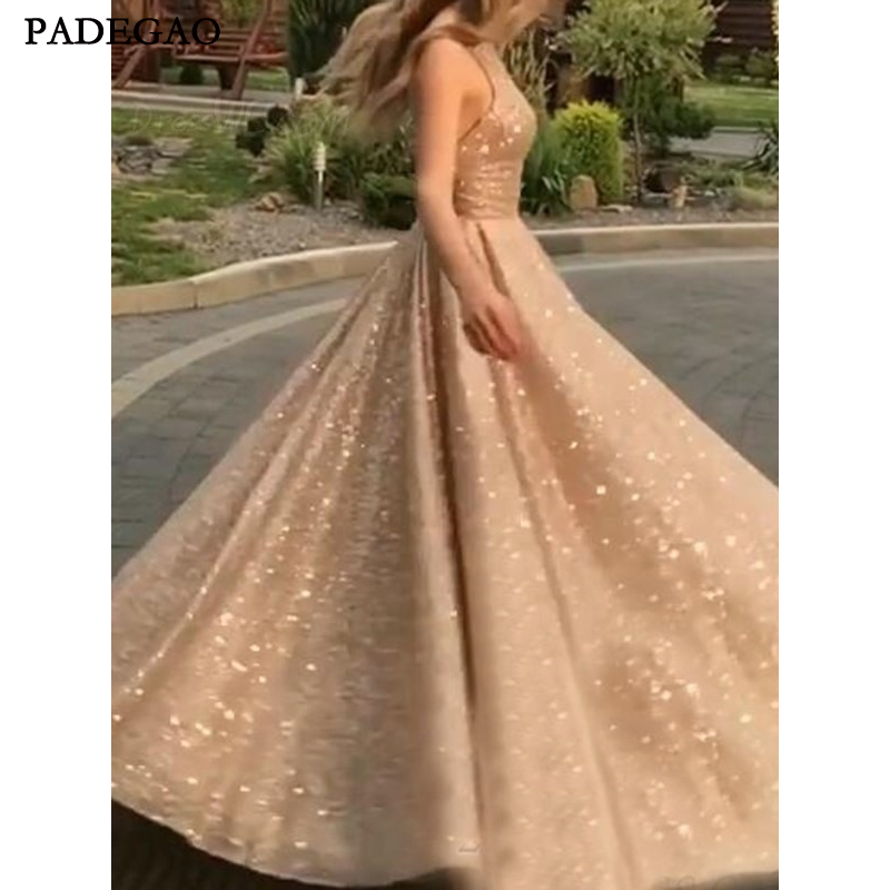 Robe de soirée élégante a-ligne étage longueur Scoop Sequin dos ouvert sans manches robes de soirée sur mesure Vestido de noche