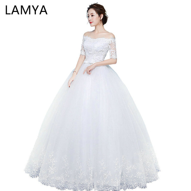 Lamya Cheap Vintage Wedding Dresses With Lace Sleeve Princess Lace