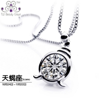 Real 925 Sterling Silver Jewelry White CZ 2 Carat Synthetic Diamond Scorpio Constellation Pendant Necklaces For