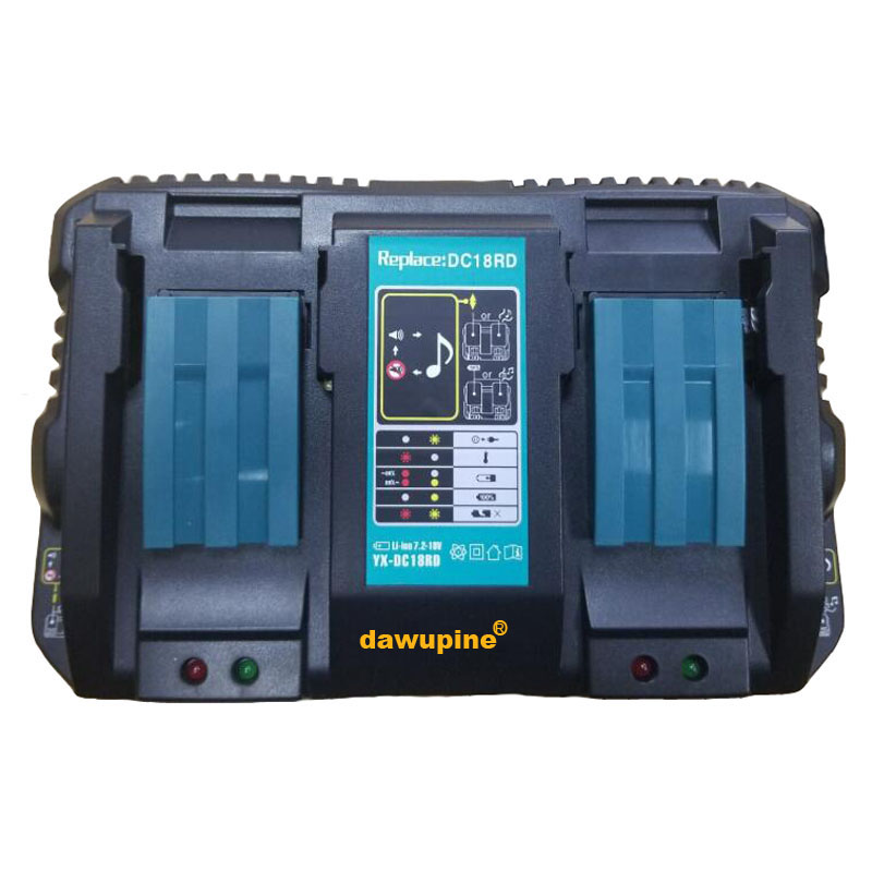 dawupine Double Li-ion Battery Charger 4A Charging Current for Makita 14.4V 18V BL1830 Bl1430 DC18RC DC18RA Power tool dawupine dc18rct li ion battery charger 3a 6a charging current for makita 14 4v 18v bl1830 bl1430 dc18rc dc18ra power tool