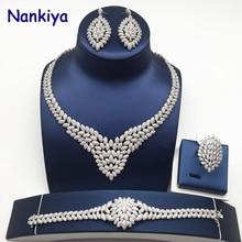 Купить с кэшбэком Nankiya Classic Wedding Jewellery Sets AAA Cubic Zirconia Copper Luxury Dubai 4pcs Jewelry Bridal Set For Wedding Party NC738