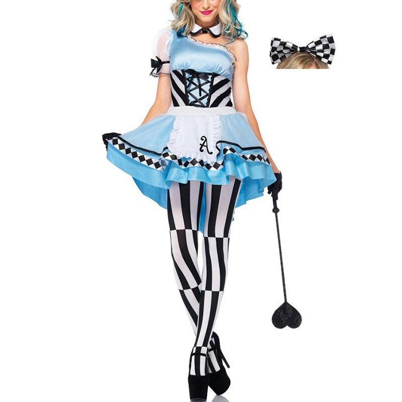 VASHEJIANG Alice in Wonderland Maid Costumes Women Maid Cosplay Fantasia Carnival Halloween Costumes for Women