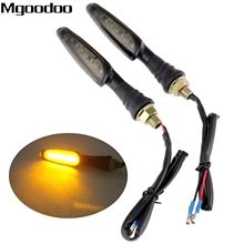 Mgoodoo 2x 12V Motorcycle Turn Signal Lights Yellow LED Indicators Light Universal Blinker Lamp Flashers For Honda Harley Suzuki