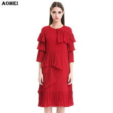 Chiffon Silk Red Frills Dress for Women 2017 Autumn New Fashion Office Lady Casual Knee Length Ruched Feminine Flutter Vestidos