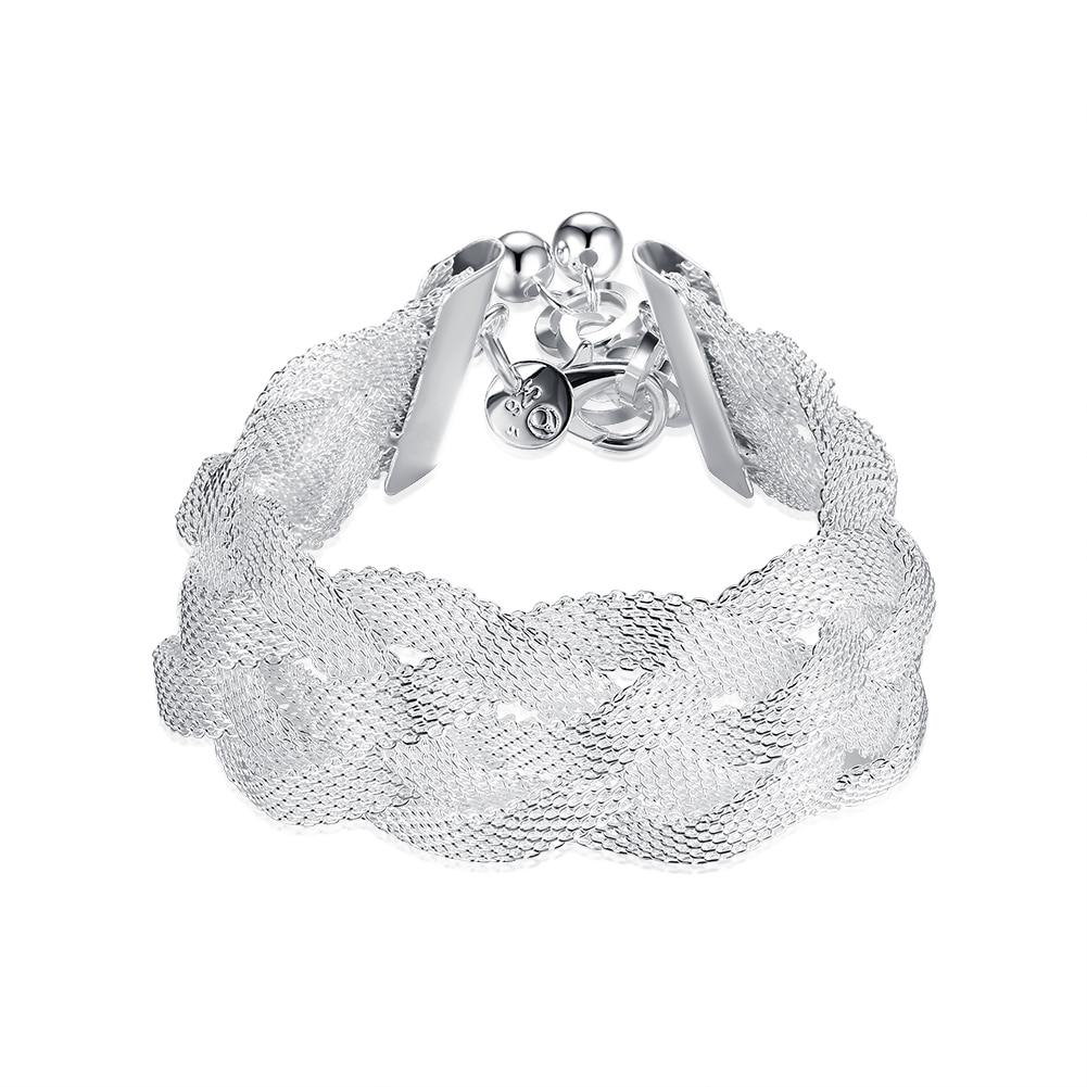 e036e5533980 925 joyería de moda pulsera de plata única color mujeres hombres joyería  25mm acoplamiento cruzado ancho Cadenas y cierres para pulseras Brazaletes