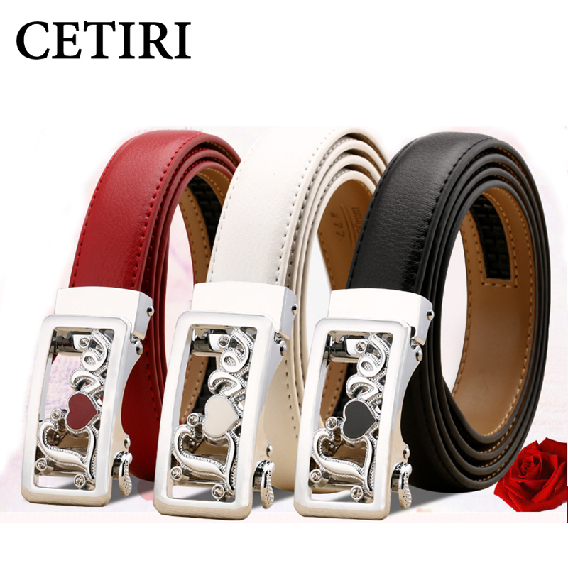 CETIRI designer belts women luxury 2017 genuine leather belt female belts with rhinestones ladies automatic stylish belt 120cm