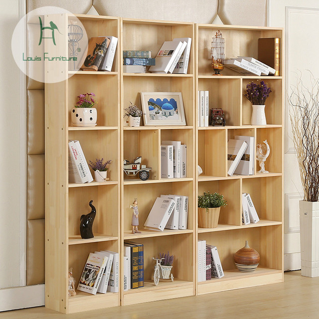 Solid Wood Bookcase Bookshelf Door Modern Simple Large Capacity Storage Cabinet
