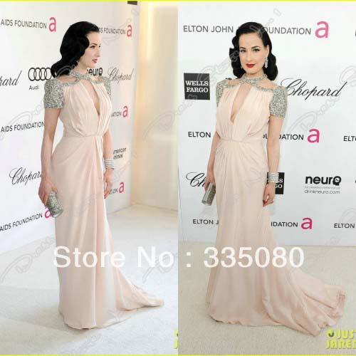2015 Dita Von Teese Pearl Pink Short Sleeves Sequins Beaded Celebrity  Dresses 84th Oscar Dress 6a423c6259bd