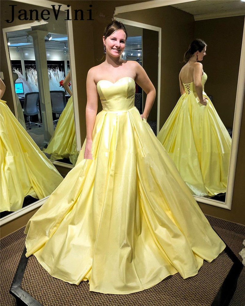 JaneVini Elegant Plus Size Long Yellow Prom Dresses 2019 Sweetheart A Line African Satin Simple Women Formal Evening Party Gowns