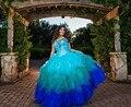 Real imagem 2017 vestidos quinceanera vestido de baile em camadas ruffles sweet 16 Anos Da Princesa Vestidos Para crianças de 15 Anos Vestidos De 15 Anos
