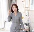 La novedad gris diseño de uniforme profesional Business Women Blazers Tops femeninos de Blaser femenino para mujer Outwear ropa