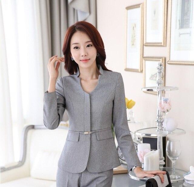 13b71cd1eafb Novelty Grey Uniform Design Professional Business Women Blazers Jackets  Female Tops Blaser Feminino Ladies Coat Outwear