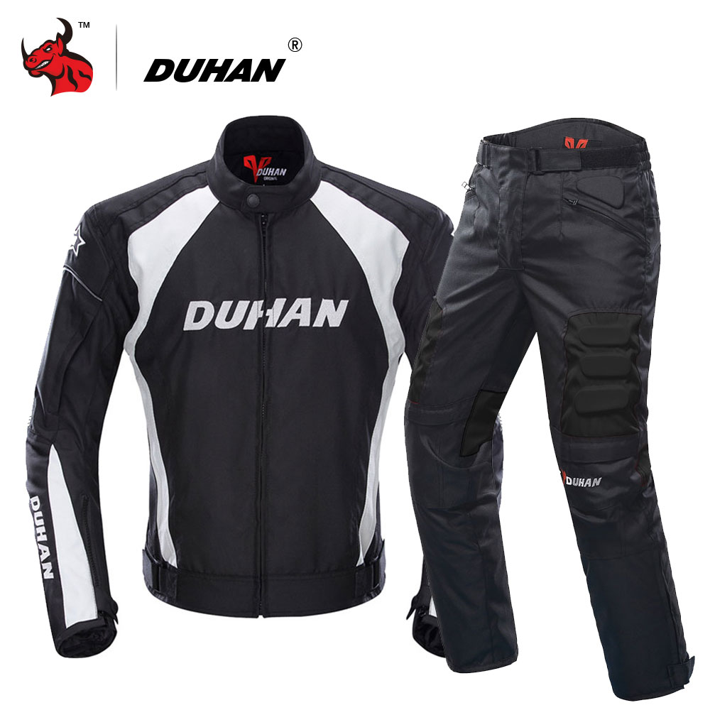 DUHAN Motorcycle Jacket Motocross Suits Jacket&Pants Moto Jacket Protective Gear Armor Men Motorcycle Clothing(China)