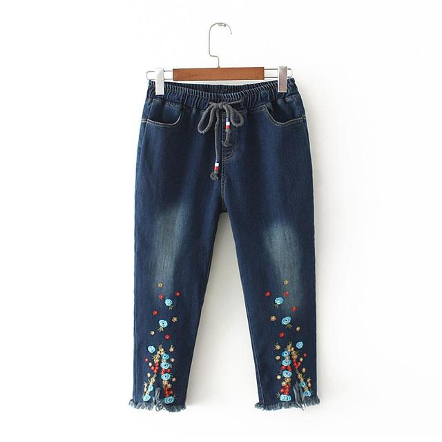 Plus Size Flower Embroidery Loose Jeans Female High Waist Jeans Pants 2020 Spring Summer New Women Big Bottom Jeans Femme 4XL