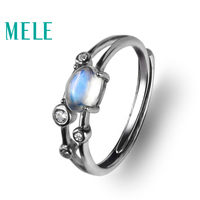 Natural moonstone 925 sterling silver rings for women and girls,blue color4X6mm oval cut gemstone fine fashion jewelry