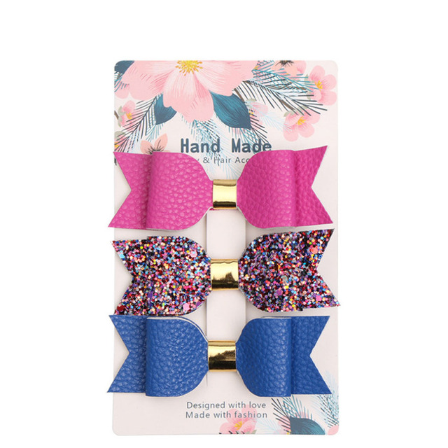 3 pcs. Multi Color Hair Bow Bundle Set