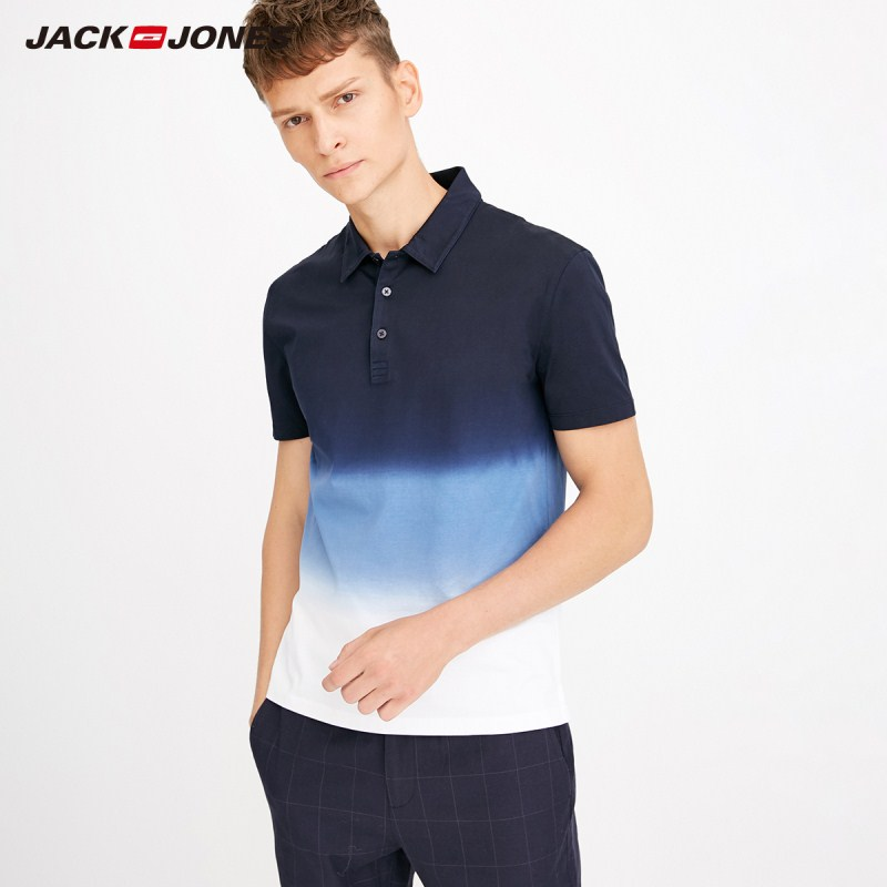 JackJones Men's Gradient Color 100% Cotton Turn-down Collar Short-sleeved   Polo   Shirt Top Menswear E|218206505