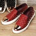 Moda Roud Toe Remaches Hombres Mocasines de Cuero Genuino de Los Hombres Zapatos de Vestir Zapatillas Zapatos Hombre Sapatos Homens Zapatos Casuales