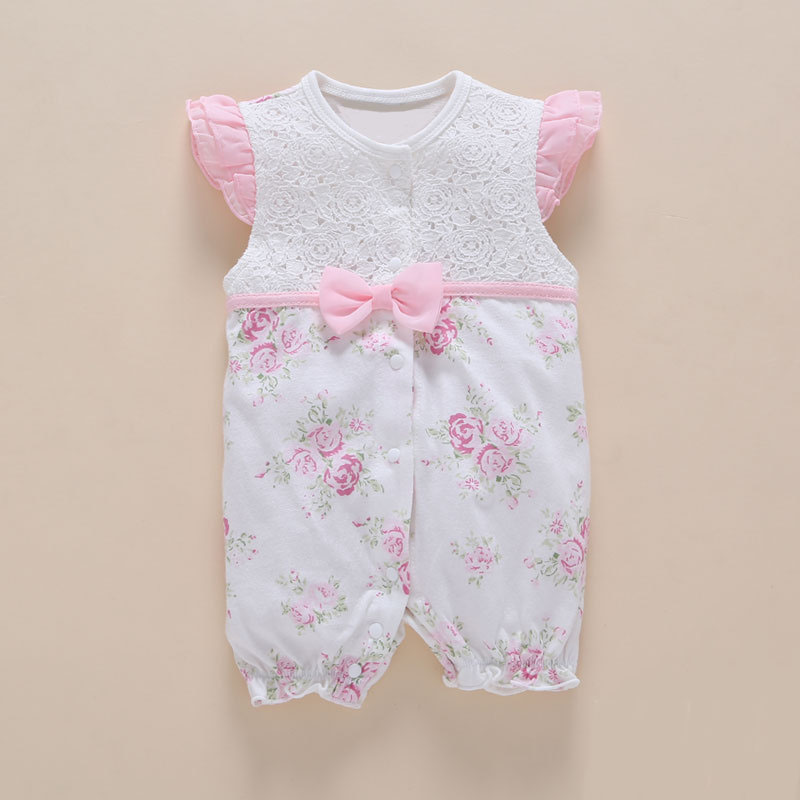 100% PAMUT Újszülött Baba Ruházat Nyár 3 6 Hónapos Lányok Bébi Romperek Csipke Bowtie Virágok Princess Jumpsuit kosztüm ruhák