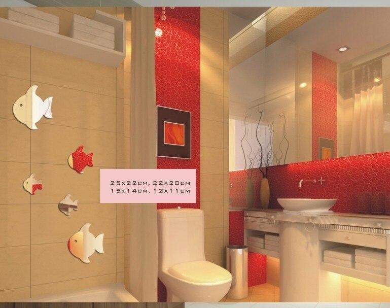 Freies verschiffen waschraum badezimmer wandspiegel dekoration, 5 stücke fische spiegel aufkleber, 3D spiegel aufkleber