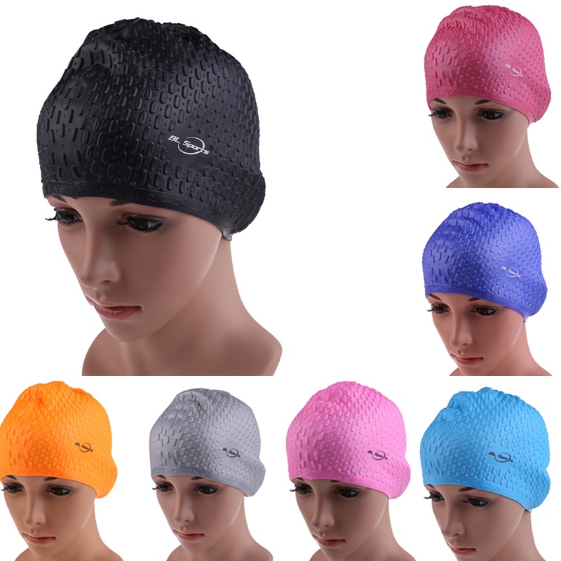Multicolor Flexible Adult Waterproof Silicon Swimming Cap Unisex Waterdrop Cover Protect Ear 7 Color Swimming Hat