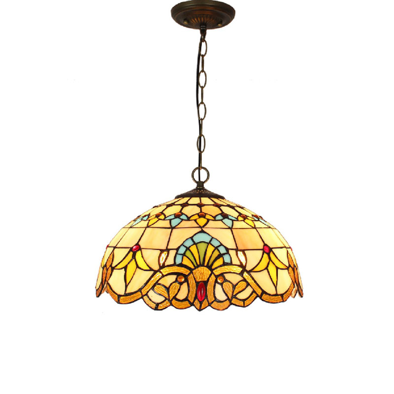 Baroque Tiffany Pendant lights Stained Glass Chain Lighting Suspended Luminaire for Home Parlor Dining Room Lamps E27 110-240V fumat stained glass pendant lamps european style baroque lights for living room bedroom creative art shade led pendant lamp