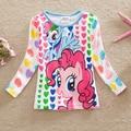 Varejo 2016 novo estilo de puro confortável adorável My Little Pony padrão de algodão do bebê roupas de menina de manga comprida t camisas LD6633 #