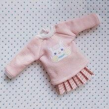 Ubrania dla lalek Blyth Cartoon bluza z długim rękawem + spódnica dla Pullip Azone Licca Blyth koszula odzież 30CM dla 1/6 akcesoria dla lalek